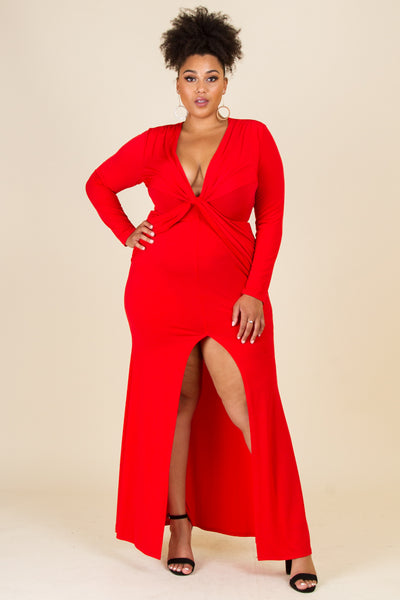Plus Size Deep V-Neck Long Sleeve With A Criss Cross Tie Maxi Dress
