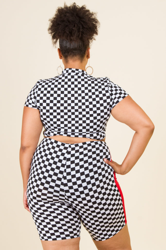 "Plus Size ""SUPER"" Checker Top and Shorts Set"