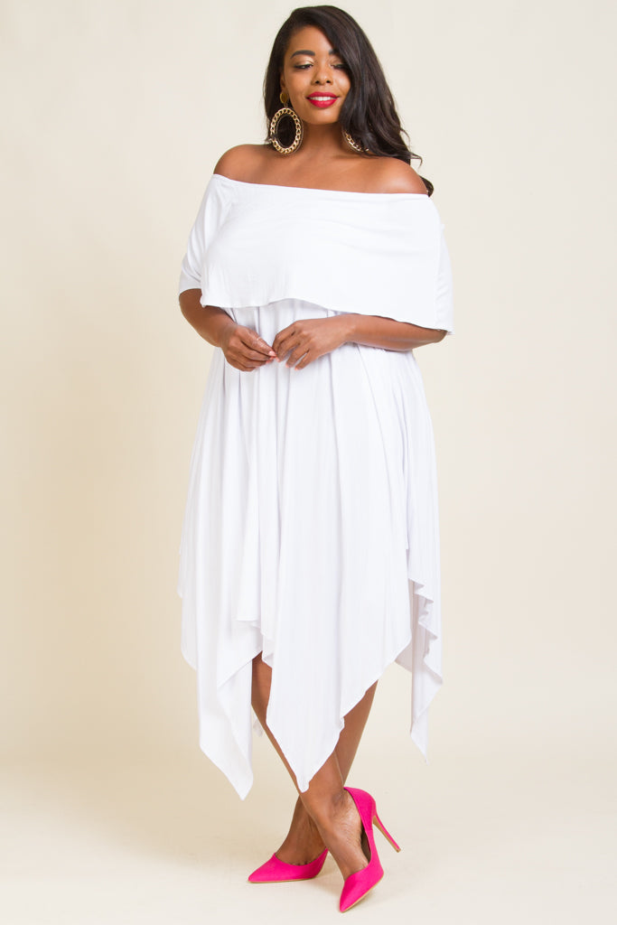 Plus Size Fold Over Midi Dress with Uneven Hem