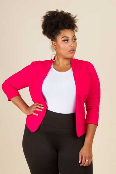 Plus Size Open Fitted Blazer