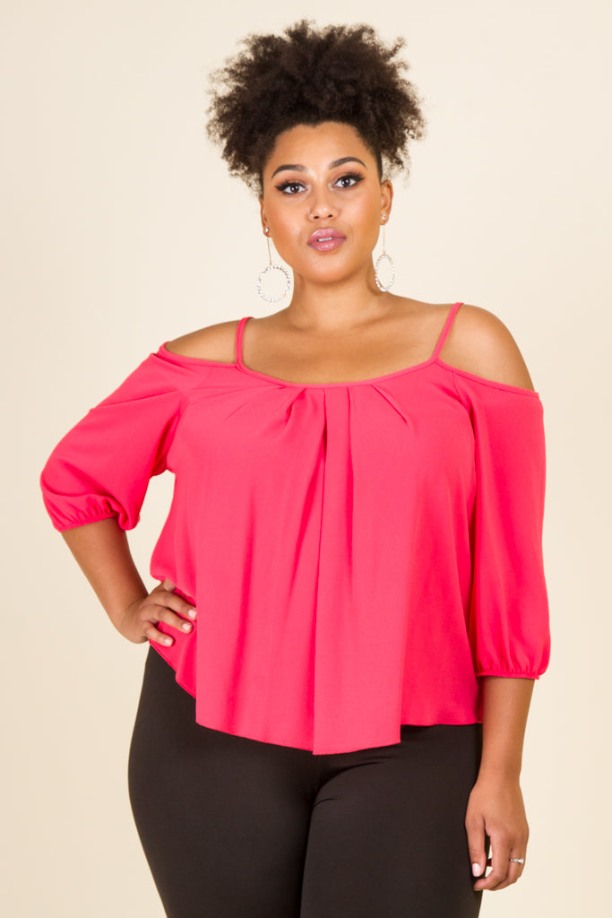 Plus Size Pleated Cold Shoulder Blouse