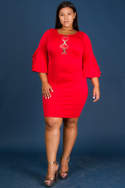 Plus Size Chain Accent Mini Dress