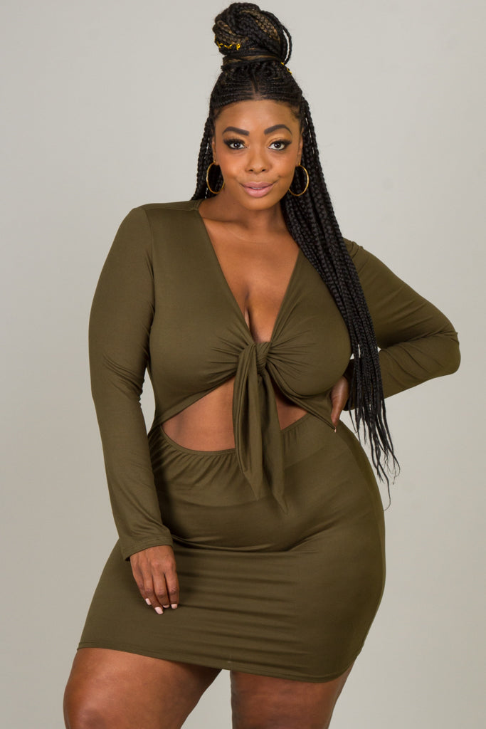 Plus Size Tie At The Front and Open At The Wast Mini Dress