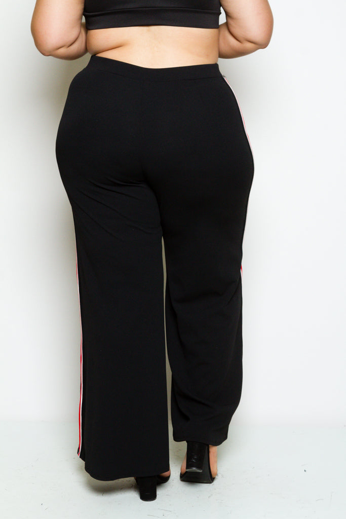 Plus Size Red Line Wide Flare Pants