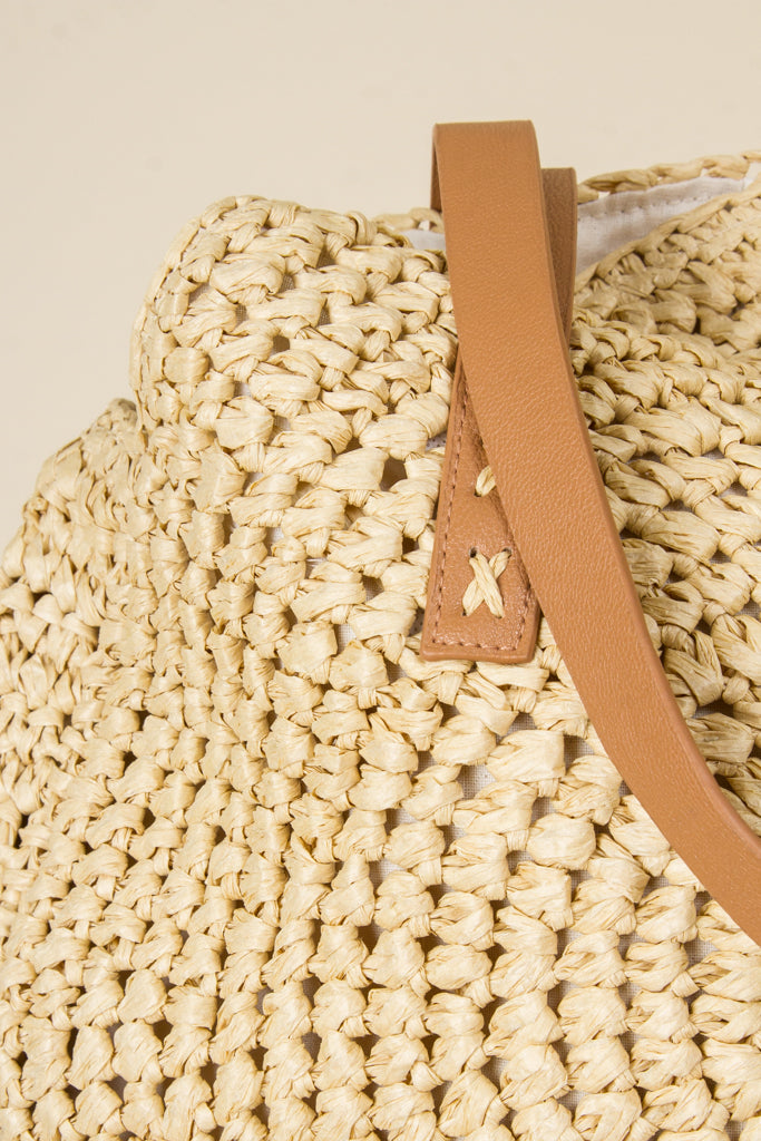 Trendy Rounded Straw Tote Bag