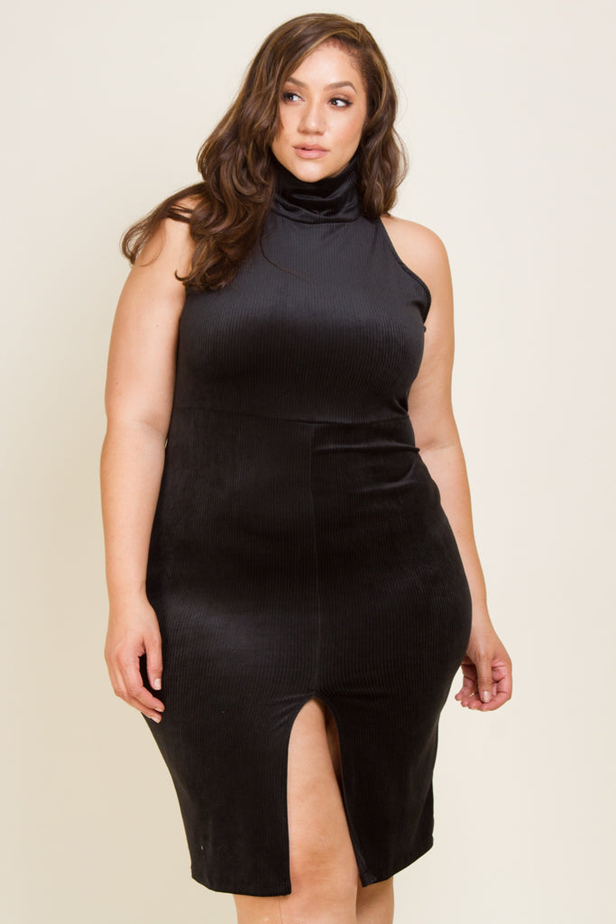**FINAL SALE** Plus Size Velvet Mock Neck Midi Dress