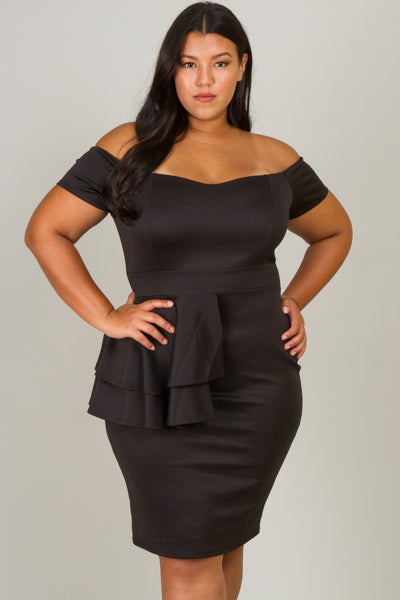 Plus Size Off Shoulder Side Layer Ruffle Dress