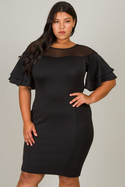 Plus size ruffle shoulder midi dress