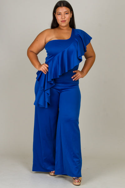 Plus Size One Cold Shoulder Jumpsuits