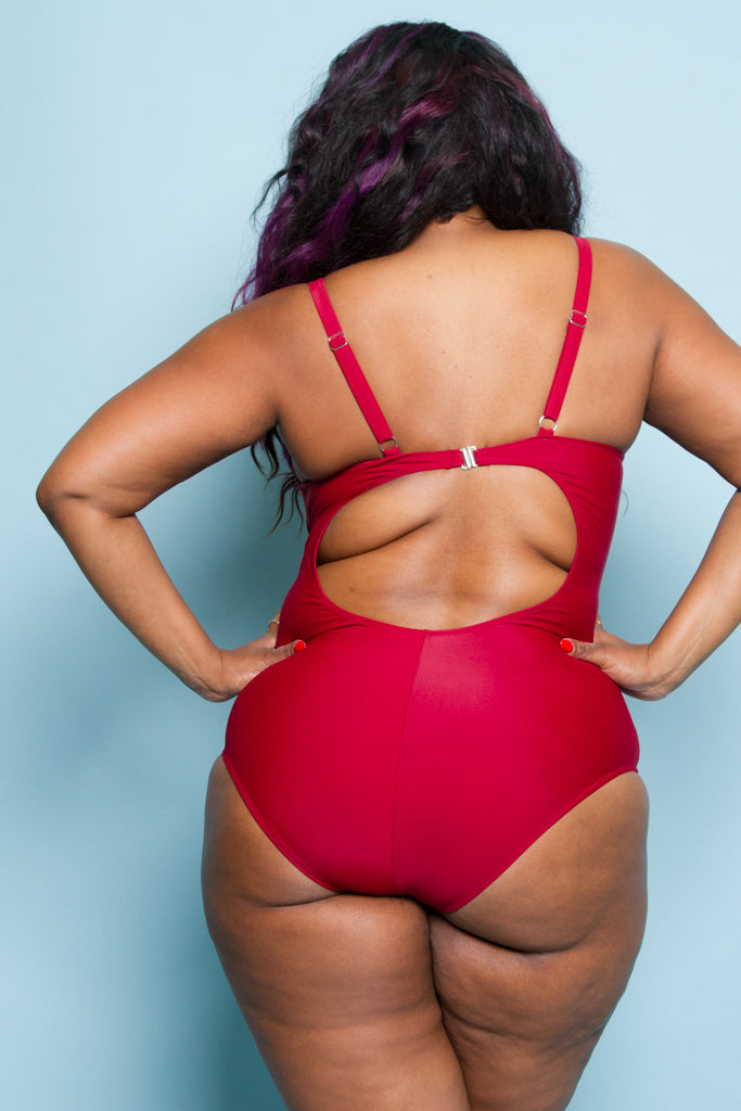 Plus Size Sexy Mesh Point One Piece Swimsuit