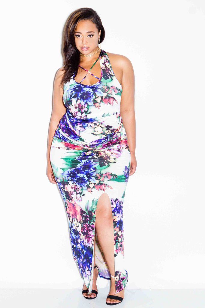 Plus Size Floral Maxi Dress with Straps