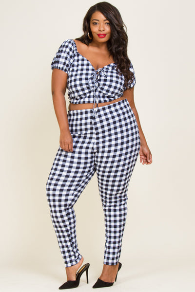 Plus Size Lace Up Top And Pants Set
