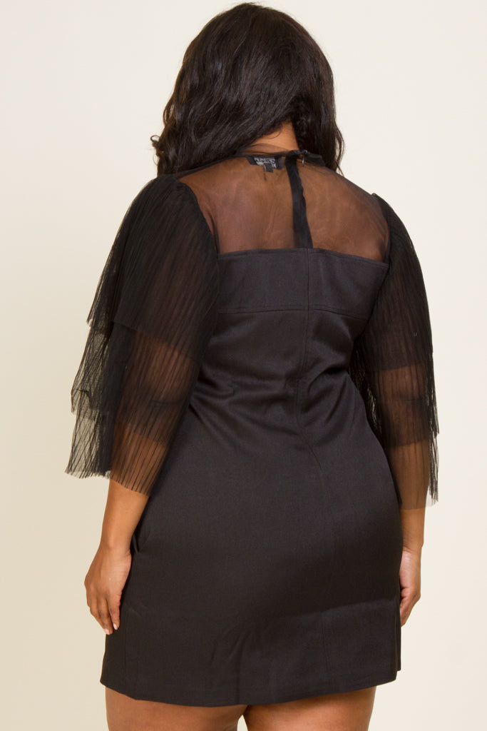 Plus Size Over Layered Mesh Sleeve Mini Dress