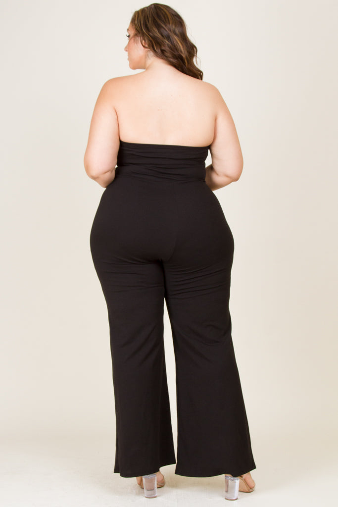 Plus Size Solid Tub Top Jumpsuit