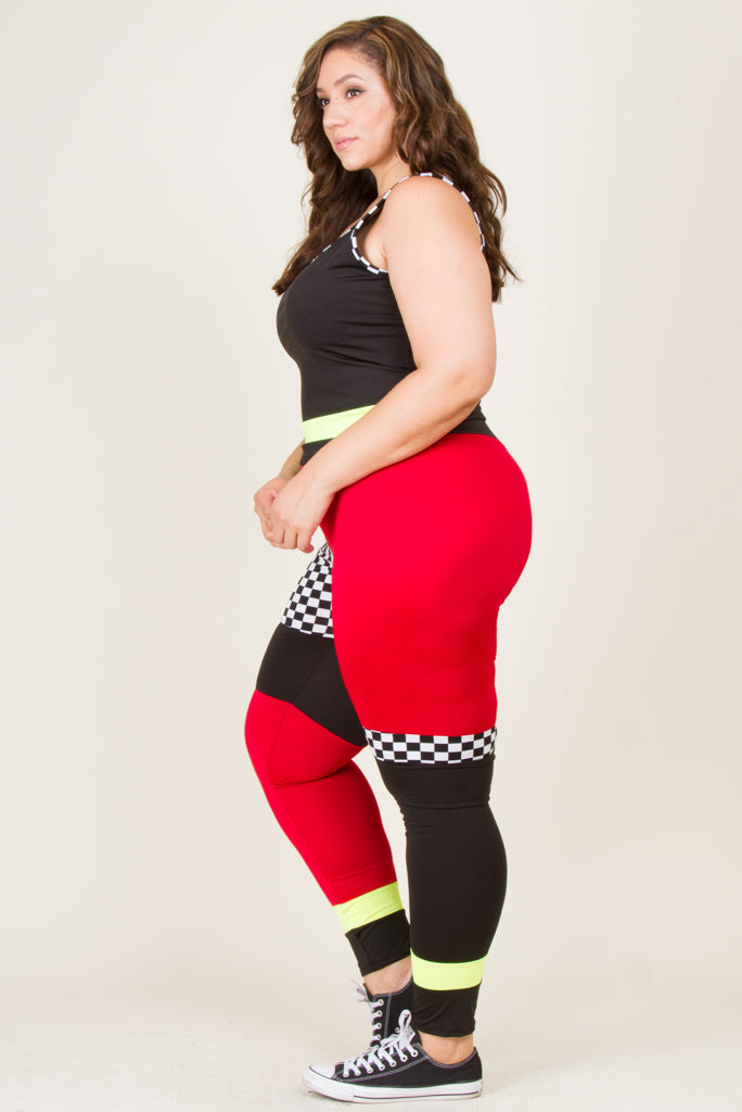 Plus Size Checker Block Top And Legging Set