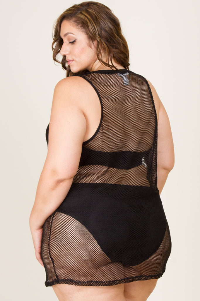 Plus Size Girl Power Mesh Cover Up Top