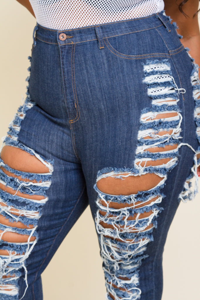 Plus Size Sliced Ripped All the way Jeans