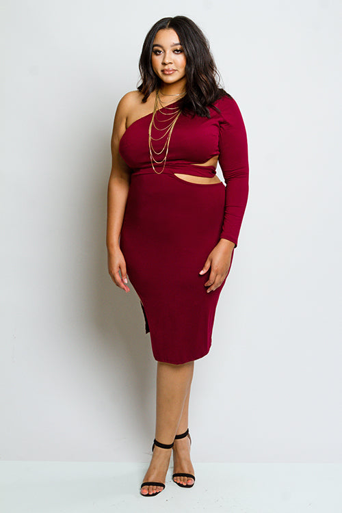 Plus Size One Shoulder Dress with Slit