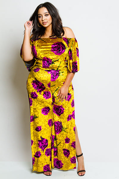 Plus Size Velvet Floral Matching Set