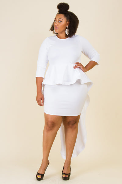 Plus Size Long Tail Point Midi Dress