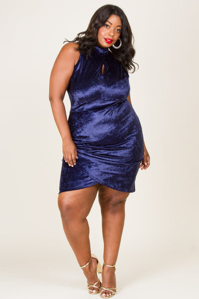 Plus Size Velvet Mock Neck Mini Dress