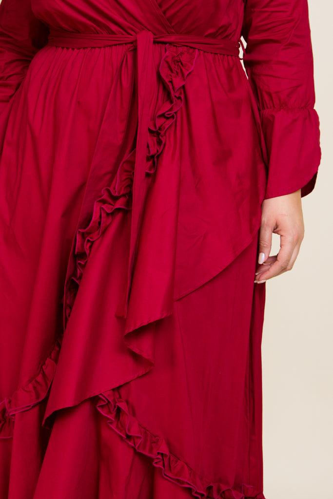Plus Size Ruffle Trim Maxi Dress