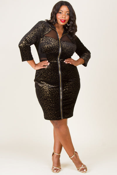 Plus Size Metallic Leopard Zip Up Dress