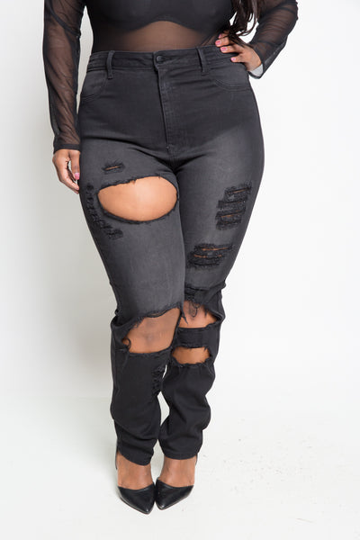 Plus Size High Rise Washed and Destroyed Skinny Jeans