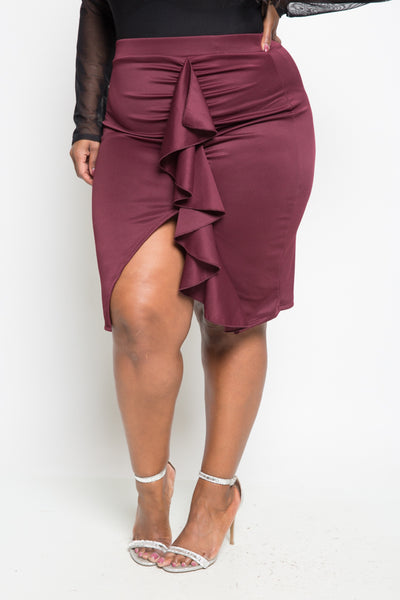 Plus Size Ruffled Up Sexy Club Skirt