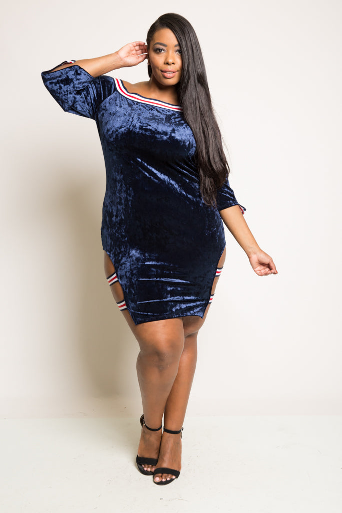 Plus Size Sexy and Sporty Velvet Mini Dress