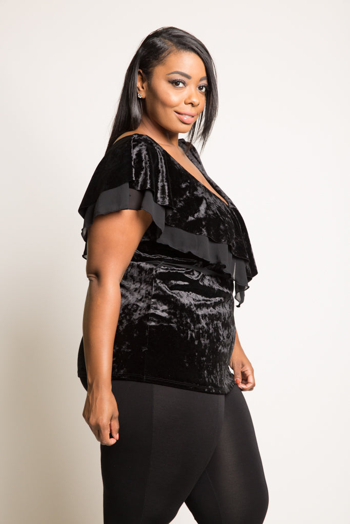 Plus Size V-neck Flounce Velvet Top