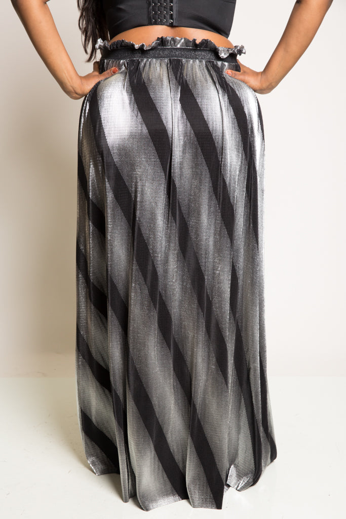 Plus Size Metallic Bodre Maxi Skirt