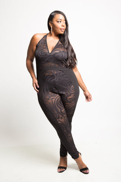 Plus Size Halter Mesh Design Jumpsuit