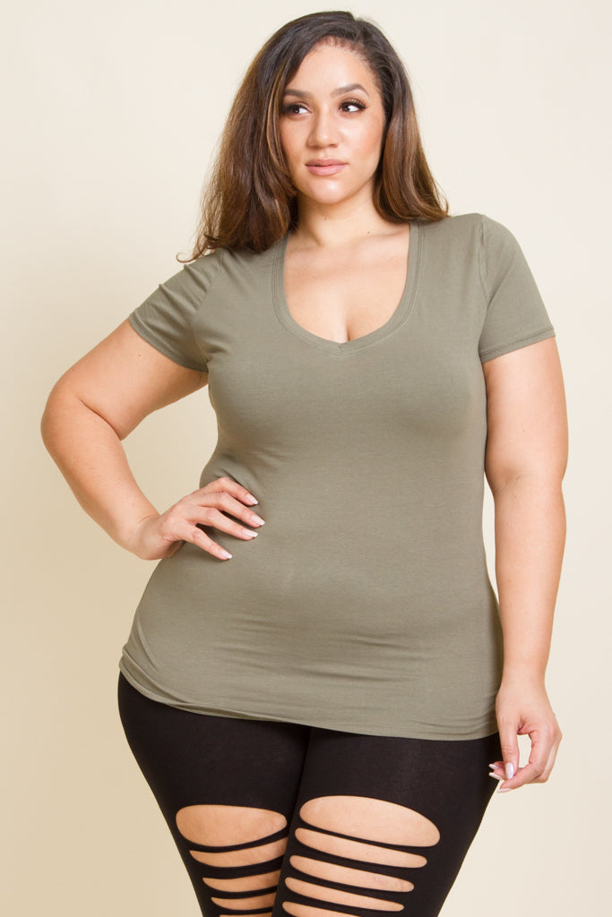 Plus Size Short Sleeve V Neck Top