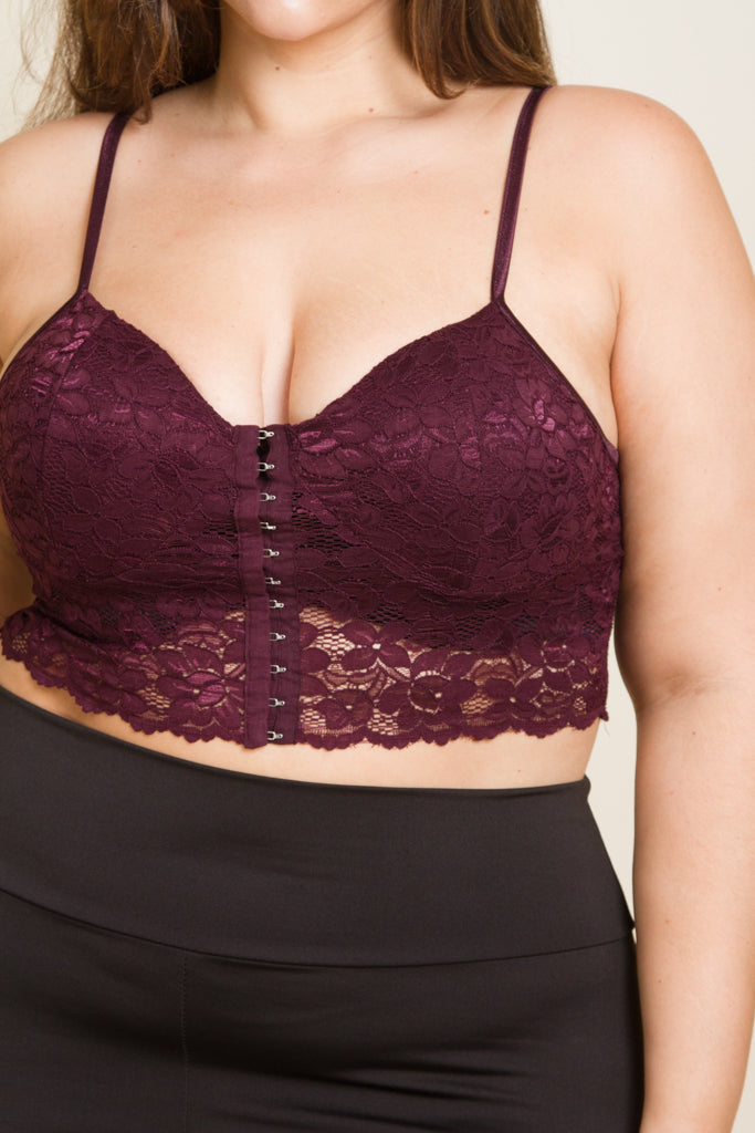 Plus Size Lace Front Closure Lace Bralette