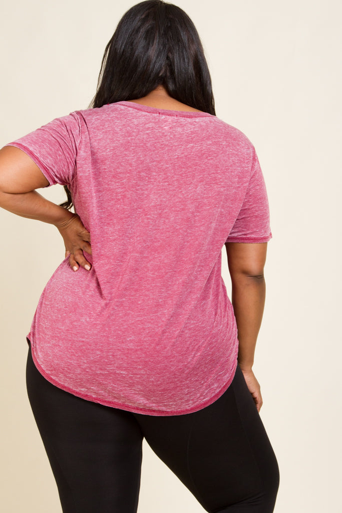 Plus Size Garment Wash V-Neck Tee