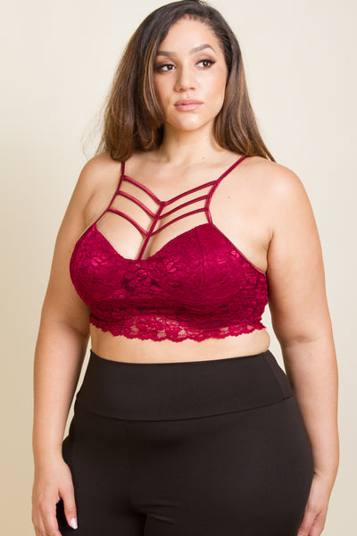 Plus Size Strappy Lace Cage Crop Top