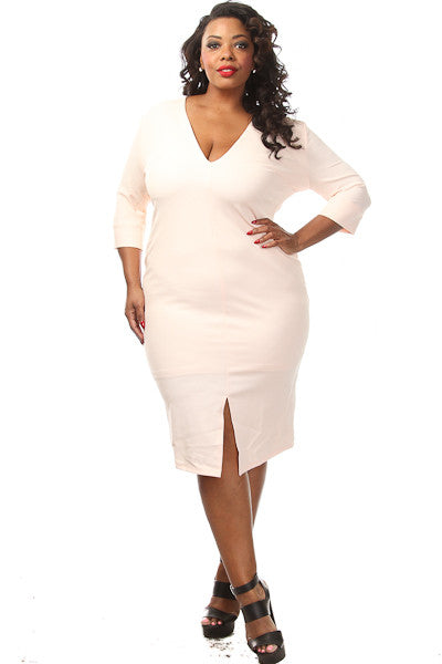 Plus Size Solid Front Slit Midi Dress - PinkClubwear - 5