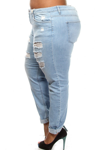 Plus Size Light Wash Distressed Jeans - PinkClubwear - 2