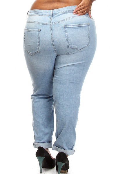 Plus Size Light Wash Distressed Jeans - PinkClubwear - 4