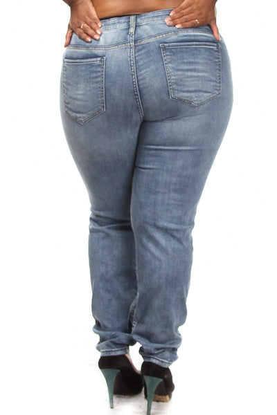 Plus Size Distressed Low Rise Jeans - PinkClubwear - 2