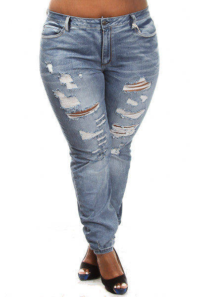 Plus Size Distressed Low Rise Jeans - PinkClubwear - 1