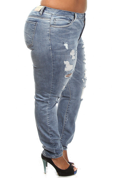 Plus Size Distressed Low Rise Jeans - PinkClubwear - 4