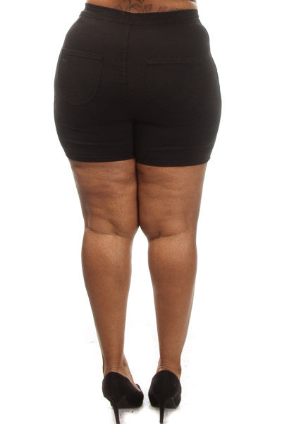 Plus Size Solid High Waist Shorts - PinkClubwear - 2