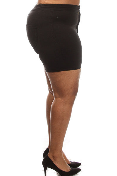 Plus Size Solid High Waist Shorts - PinkClubwear - 3