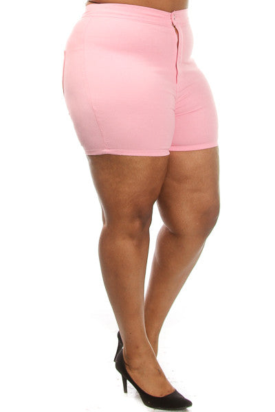 Plus Size Solid High Waist Shorts - PinkClubwear - 4