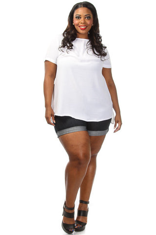 Plus Size Solid Short Sleeve Loose Top - PinkClubwear - 6