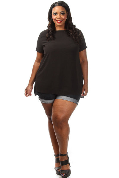 Plus Size Solid Short Sleeve Loose Top - PinkClubwear - 5