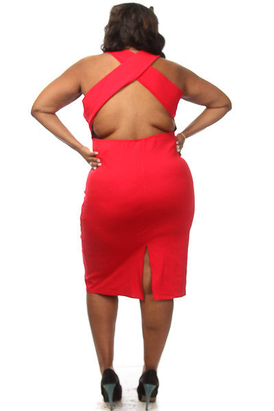Plus Size Solid Crossback Midi Dress - PinkClubwear - 3
