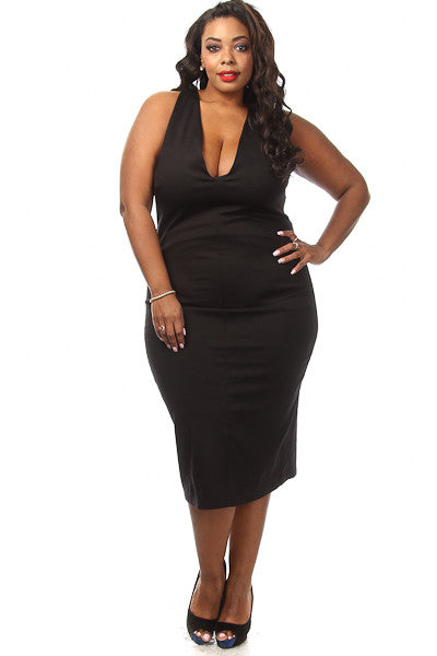 Plus Size Solid Crossback Midi Dress - PinkClubwear - 5